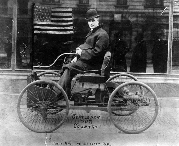 Henry Ford sits in his pride and joy, the 1896 Quadricycle. ca. 1890s Detroit, Michigan, USA