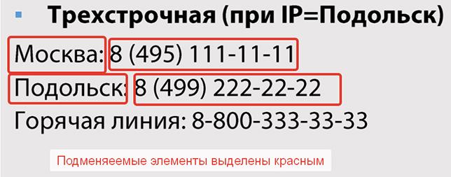 Трехстрочный вариант реализации подмены, наиболее эффективен для сверх-конкурентных ниш с всероссийской географией