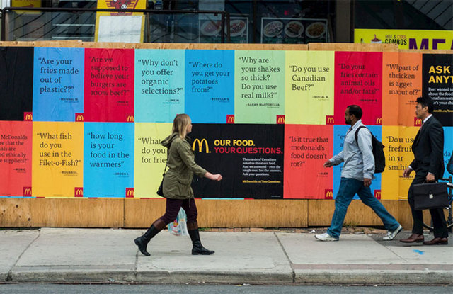 Рекламные плакаты McDonald's с вопросами потребителей