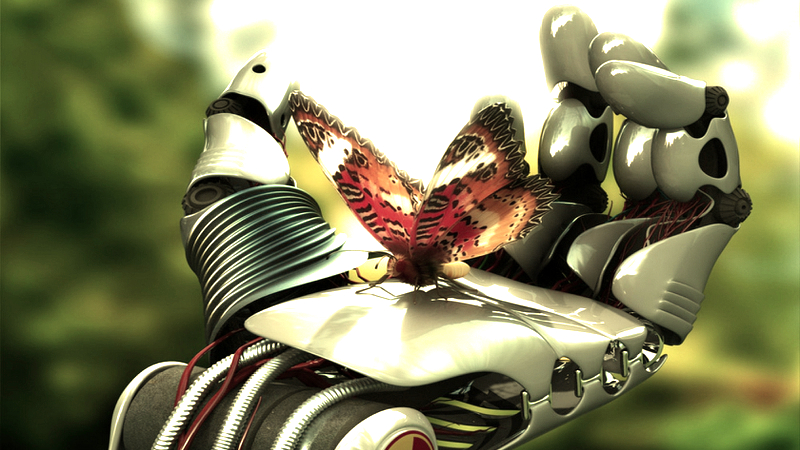 Бабочка на руке робота