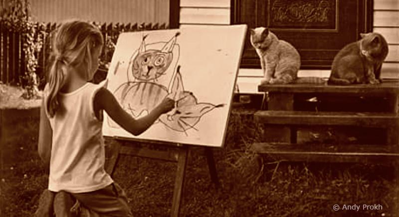 Женщина рисующая котов