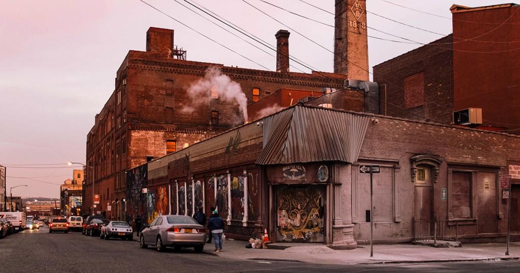пейзаж старого промышленного городского района