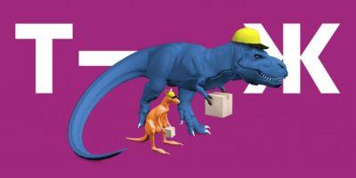 Динозавр и кенгуру в строительных касках