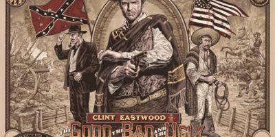 Рисунок: человек с револьвером, два флага