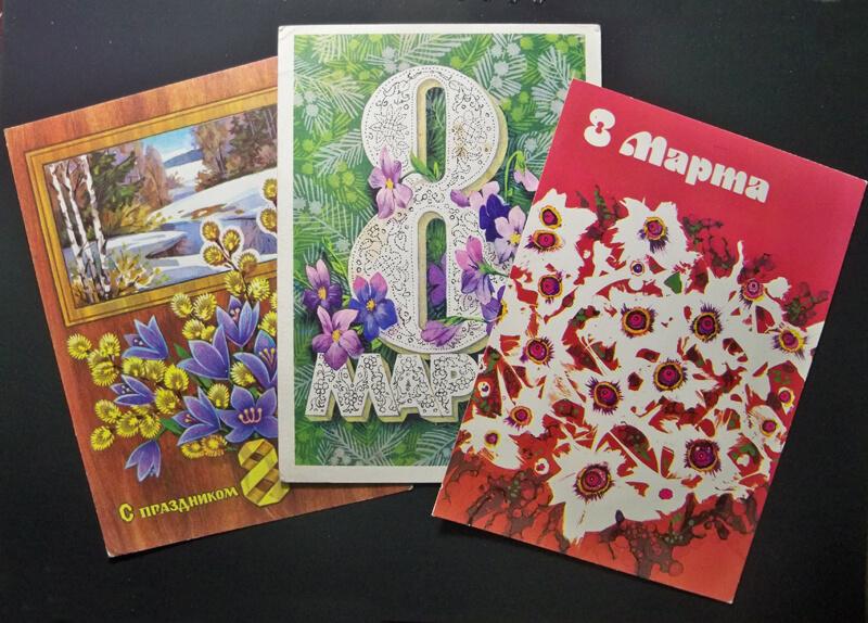 Иногда можно отвести душу и использовать для открытки что-то абстрактное (справа).