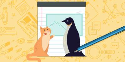 Пингвин с котом перед графиком