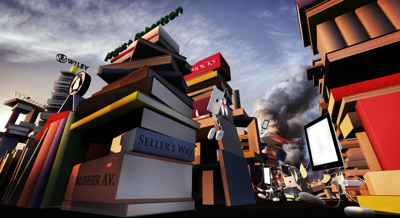 Кипа книг на фоне неба