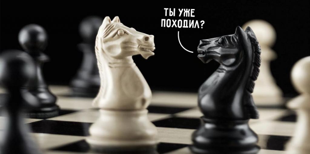 Два шахматных коня, надпись