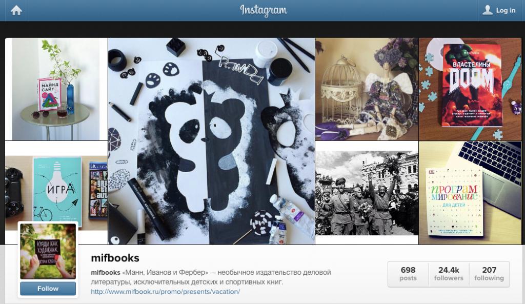 Так выглядит сегодня Инстаграм издательства «Манн, Иванов и Фербер»