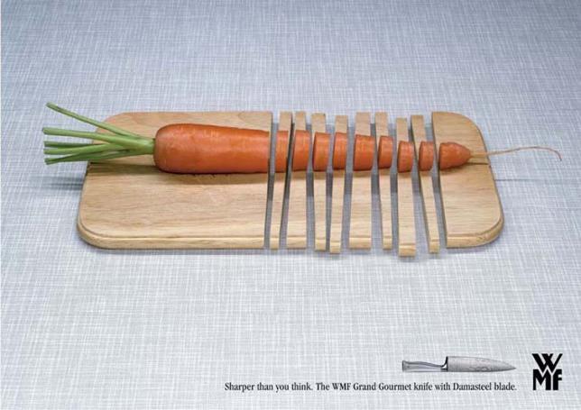 Гипербола, преувеличение остроты ножа