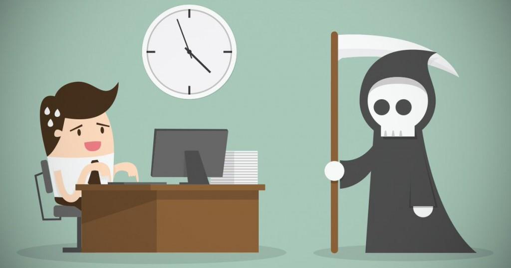 Рисунок: человек перед компьютером и смерть с косой