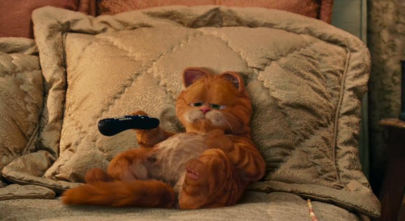 Кот с пультом, на подушке