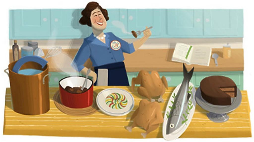 Рисунок: кухарка за приготовлением еды
