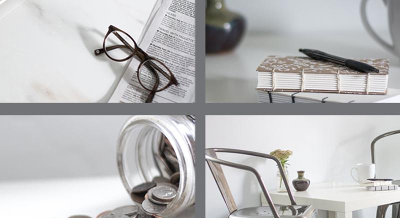 коллаж фото: очки, блокнот, банка с монетами, стол и кресло