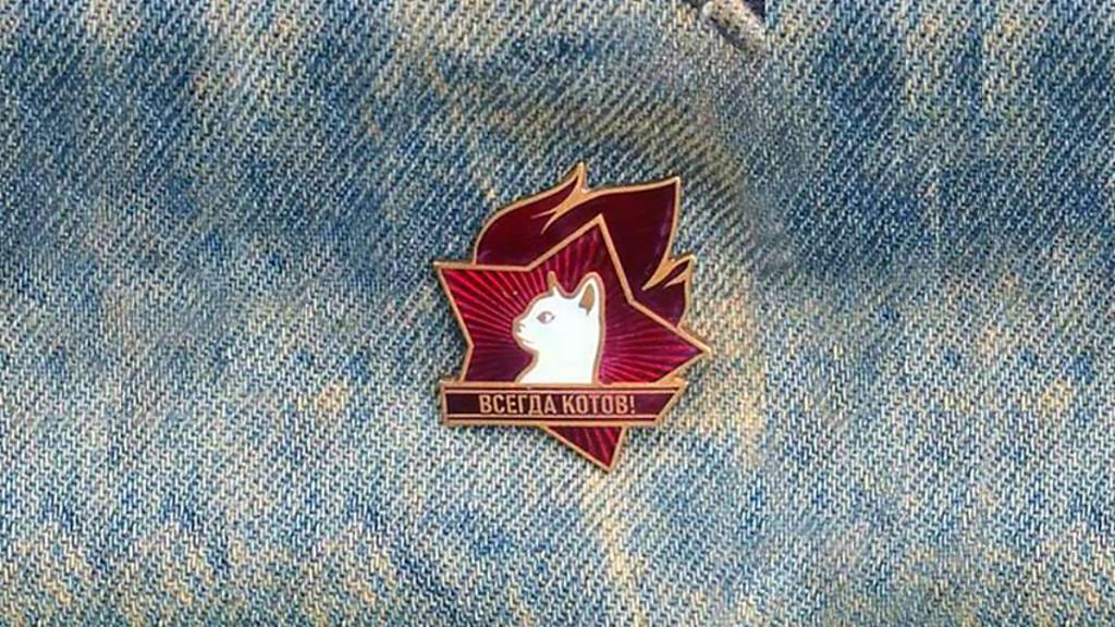 Значок с котиком на джинсовой ткани