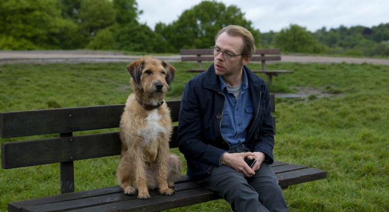 Человек с собакой на скамейке